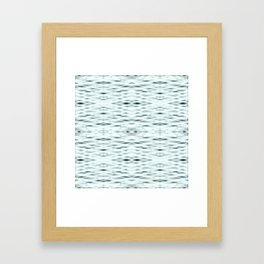 Cyan Zigzag Pattern Framed Art Print