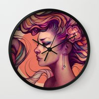 roses Wall Clocks featuring Leah by Megan Lara