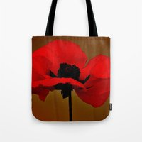 poppies Tote Bags featuring POPPIES by Teresa Chipperfield Studios