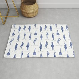 Nautical Knots (White and Navy) Rug