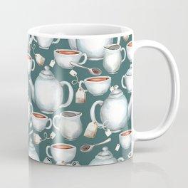 Tea Love Print, Cup of Tea, Tea Set, Hand-Painted, Vintage, Cream and Sugar, Cozy Tea Time Coffee Mug