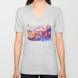 The Pantheon Rome Watercolor Streetscape Unisex V-Neck