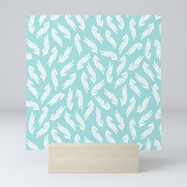 Simple hand drawn branches on light blue background Mini Art Print