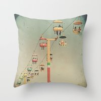 1975 Throw Pillows featuring 1975 Ride by Maite Pons