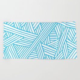 Abstract Teal & white Lines and Triangles Pattern - Mix and Match with Simplicity of Life Beach Towel