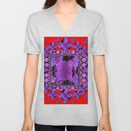 RED PURPLE AMETHYST FEBRUARY GEM BIRTHSTONE MODERN ART Unisex V-Neck