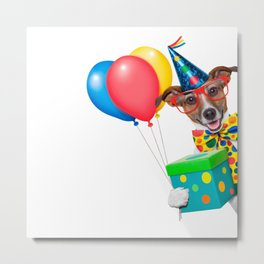 Birthday Dog With Balloons Tie and Glasses Metal Print