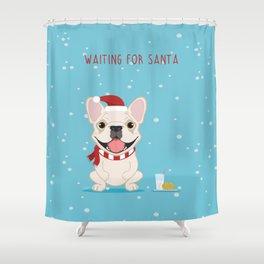 French Bulldog Waiting for Santa - Cream Edition Shower Curtain
