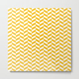 Amber Yellow Herringbone Pattern Metal Print