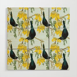 Tuis in the Kowhai Flowers Wood Wall Art