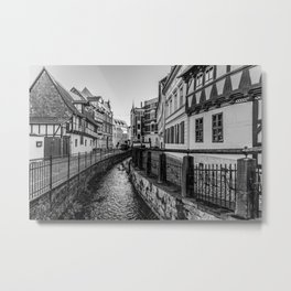 old timbered houses and moat Metal Print