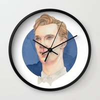 benedict cumberbatch Wall Clocks featuring Cumberbatch by Megan Diño