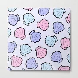 Mermaid Shells Pastel Pattern Metal Print
