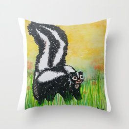 Watercolor Skunk Throw Pillow