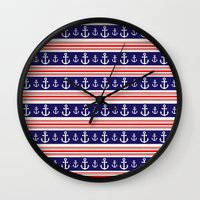 anchors Wall Clocks featuring anchors by Manoou