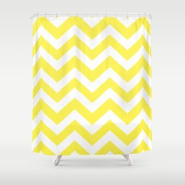 Lemon yellow - yellow color - Zigzag Chevron Pattern Shower Curtain
