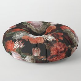 Midnight Jan Davidsz. de Heem Vintage Roses Flowers Botanical Garden Floor Pillow