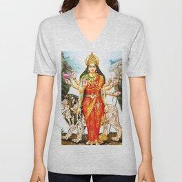 Hindu Durga 3 Unisex V-Neck