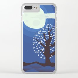 Tree in the moonlight Clear iPhone Case
