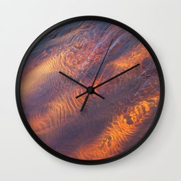 Dark Orange Water Waves Wall Clock