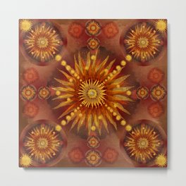 """Red Blood & Gold Vault Mandala (Gold stars)"" Metal Print"