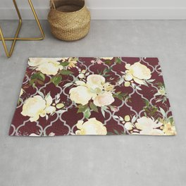 Country chic burgundy white quatrefoil watercolor floral Rug