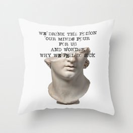 Dark Academia | We Drink The Poison Our Minds Pour For Us | Greek Statue Study Light  Throw Pillow