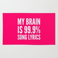 lyrics Area & Throw Rugs featuring My Brain is 99.9% Song Lyrics (Pink) by CreativeAngel