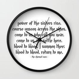 Charmed Sister Spell Wall Clock