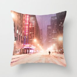 Snowstorm in New York City Throw Pillow