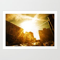 The Golden Sun Shines on Los Angeles Art Print