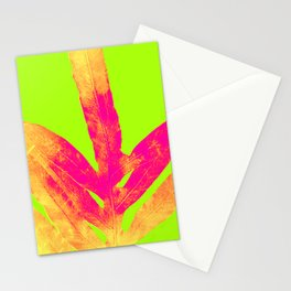 Green and Ultra Bright Coral Fern Stationery Cards