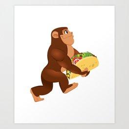 Bigfoot Taco Cinco de Mayo Funny Art Print