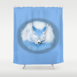 Sleeping Fennec Fox Blue Shower Curtain