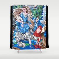 sam smith Shower Curtains featuring Blue Fairy, Sam Fan Art by Annette Jimerson