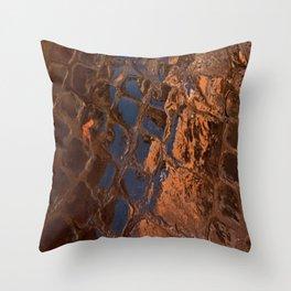 Coppery Cobble Stones Throw Pillow