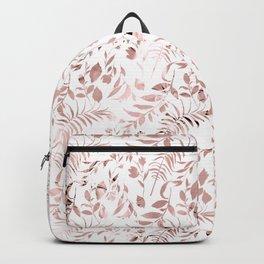 Elegant modern faux rose gold tropical leaves floral Backpack