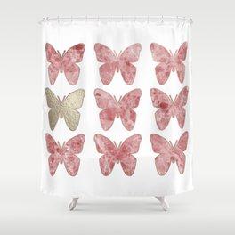 Golden rosy mauve butterflies Shower Curtain