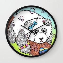 Cute Panda Bubble Pop Doodle green version Wall Clock