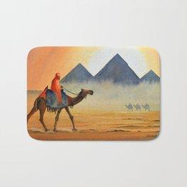 Sudden Sand Storm At Giza Pyramids Egypt Bath Mat