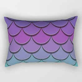 Girly Cute Blue Purple Lilac Teal Green Pink Ombre Mermaid Scales Rectangular Pillow