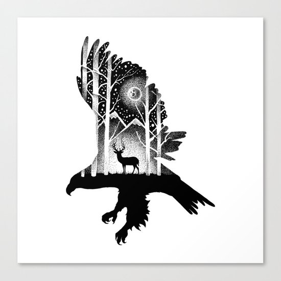 THE EAGLE AND THE DEER Canvas Print