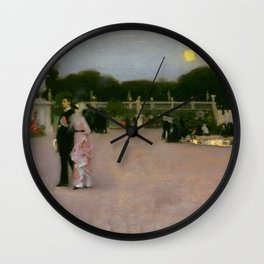 Luxembourg in the Moonlight, Paris landscape by John Singer Sargent Wall Clock