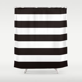 Licorice - solid color - white stripes pattern Shower Curtain