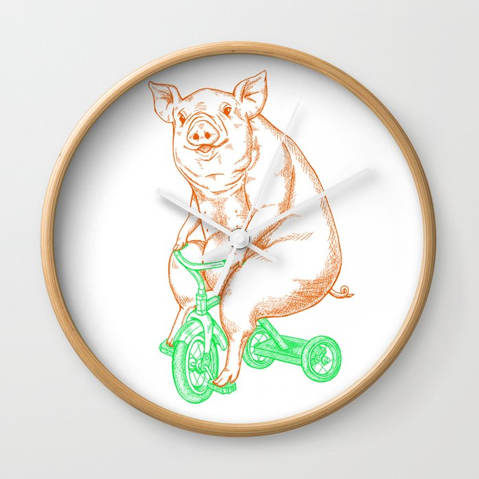 Piggy on a Tricycle Wall Clock