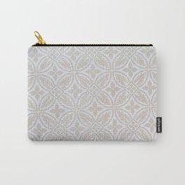 Elegant white ivory geometric quatrefoil pattern Carry-All Pouch