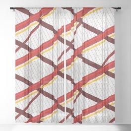 Deco Stripes Scarlet Sheer Curtain
