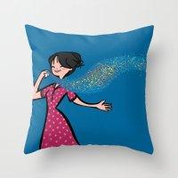 perfume Throw Pillows featuring Perfume by Bea Blanco