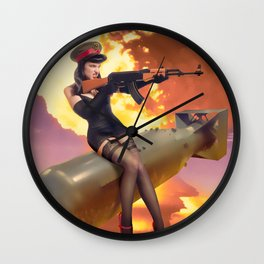 """Sovietsky by Air"" - The Playful Pinup - Missile Russian Pin-up Girl by Maxwell H. Johnson Wall Clock"