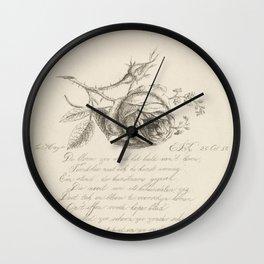 A rose and forget-me-nots, Elisabeth Johanna Koning, 1850 Wall Clock